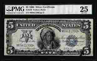 1899 $5 Indian Chief Silver Certificate Note Fr.278 PMG