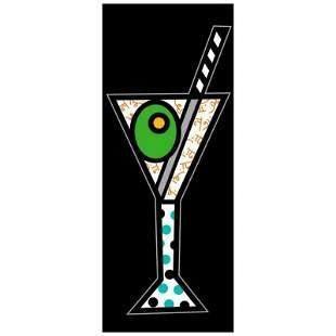 """Romero Britto """"Black Martini"""" Limited Edition Giclee on"""