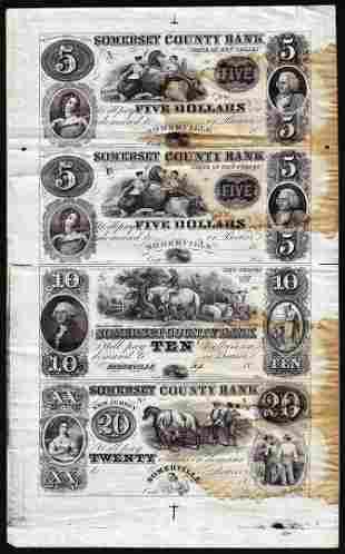 Uncut Sheet of 1800's $5/5/10/20 Somerset County Bank