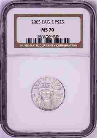 2005 $25 American Platinum Eagle Coin NGC MS70