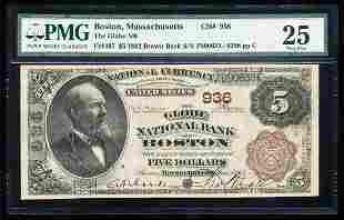1882BB $5 Globe NB of Boston, MA CH# 936 National Bank