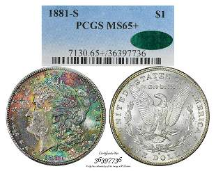 1881-S $1 Morgan Silver Dollar Coin PCGS MS65+ CAC