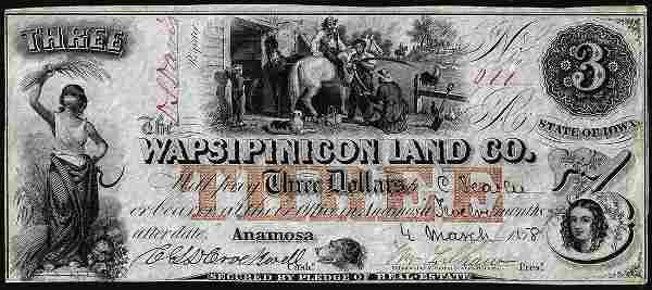 1858 $3 The Wapsipinicon Land Co. Anamosa, IA Obsolete