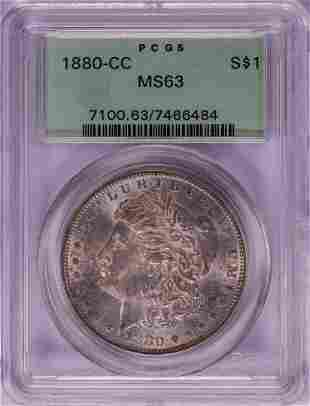 1880-CC $1 Morgan Silver Dollar Coin PCGS MS63 Old