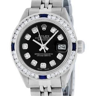 Rolex Ladies Stainless Steel Black Diamond & Sapphire