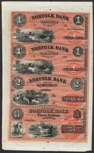 Uncut Sheet of 1800's $1/$1/$2/$3 Norfolk Bank, CT