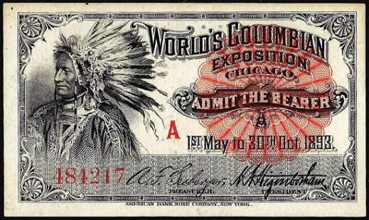 1893 World's Fair Columbian Exposition Ticket Indian