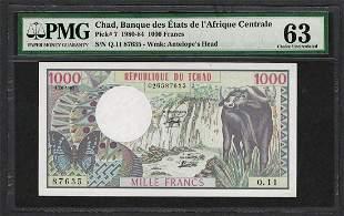 1980-84 Banque Etats Chad Africa 1000 Francs Note Pick#