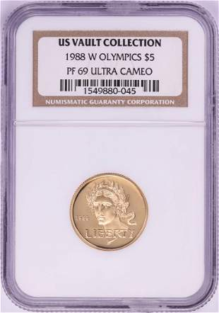 1988-W $5 Proof Olympics Commemorative Gold Coin NGC