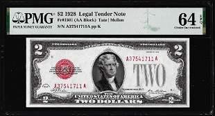 1928 $2 Legal Tender Note Fr.1501 PMG Choice