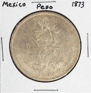 1873 Mexico Un Peso Silver Coin