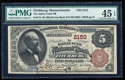 1882BB $5 'Circus Poster' Fitchburg, MA CH# 2153