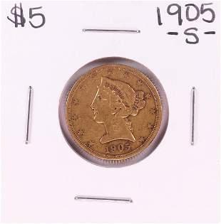 1905-S $5 Liberty Head Half Eagle Gold Coin