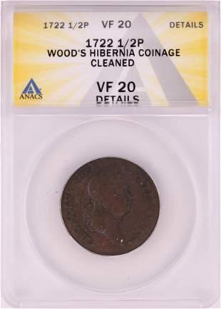 1722 Half Penny Wood's Hibernia Colonial Copper Coin
