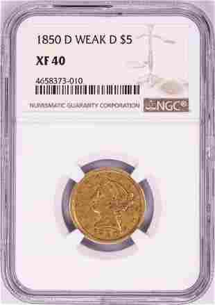 1850-D Weak D $5 Liberty Head Half Eagle Gold Coin NGC