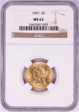 1907 $5 Liberty Head Half Eagle Gold Coin NGC MS62