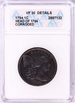 1794 Head of 1794 Flowing Hair Large Cent Coin ANACS