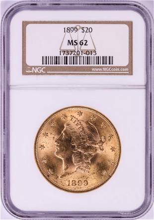 1899 $20 Liberty Head Double Eagle Gold Coin NGC MS62
