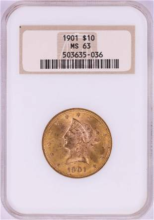 1901 $10 Liberty Head Eagle Gold Coin NGC MS63