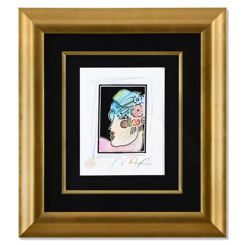 """Peter Max """"Lady Profile with Flowers III"""" Original"""