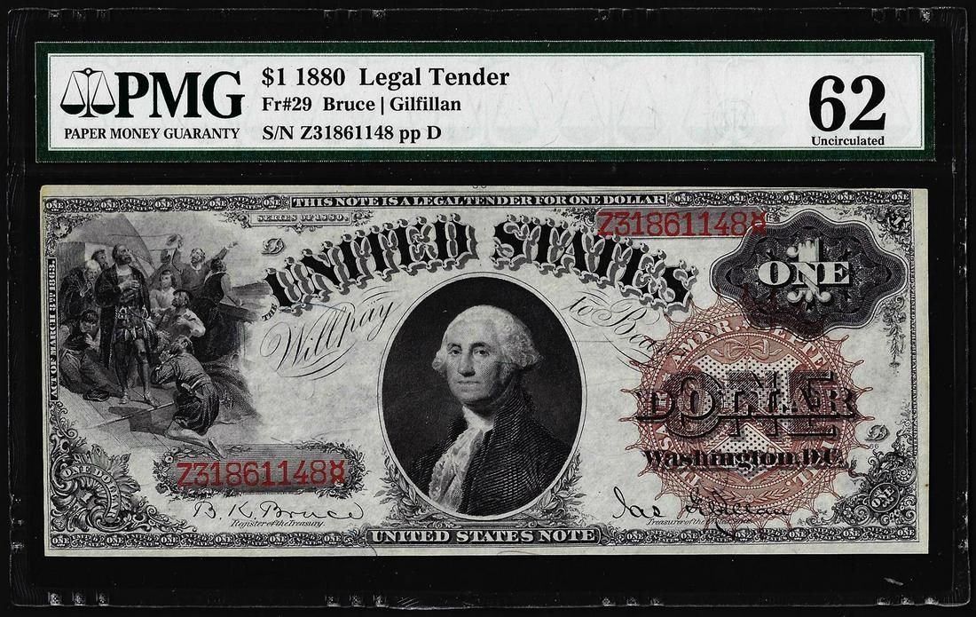 1880 $1 Legal Tender Note Fr.29 PMG Uncirculated 62