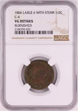 1806 Large 6 With Stems C-4 Draped Bust Half Cent Coin