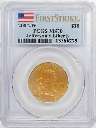 2007-W $10 Jefferson's Liberty Commemorative Gold Coin