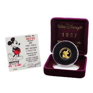 Rarities Mint 1987 Mickey's Magic Good Luck 1/4 oz Gold