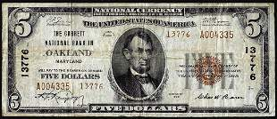 1929 Type 2 $5 Garrett NB in Oakland, Maryland CH#