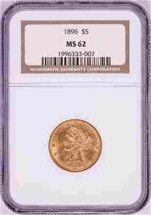 1896 $5 Liberty Head Half Eagle Gold Coin NGC MS62