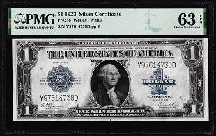 1923 $1 Silver Certificate Note Fr.238 PMG Choice