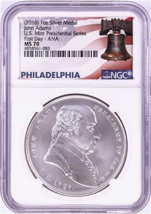 2018 John Adams Silver Presidential Medal NGC MS70