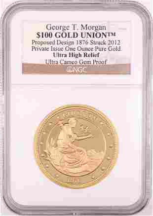 2012 George T. Morgan $100 Gold Union 1oz Gold Coin NGC