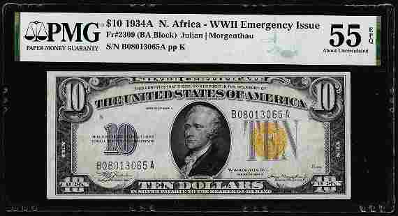 1934A $10 North Africa WWII Emergency Silver