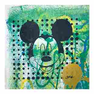 """Rodgers """"Mickey Mouse"""" Original Mixed Media on Canvas"""