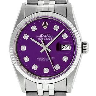 Rolex Men's Stainless Steel Purple Diamond Datejust