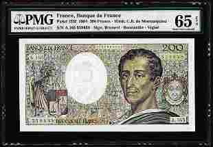 1994 France Banque de France 200 Francs Note Pick# 155f
