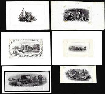 Lot of (6) 1800's Vignette from Original Proof Plates