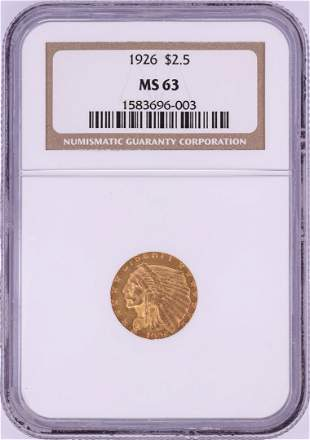 1926 $2 1/2 Indian Head Gold Coin NGC MS63