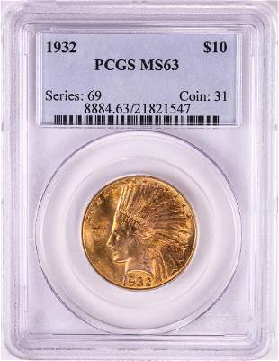 1932 $10 Indian Head Eagle Gold Coin PCGS MS63