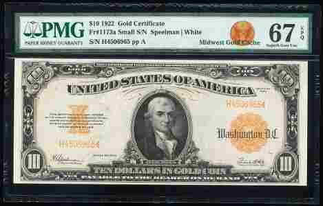 1922 $10 Gold Certificate Note Fr.1173a PMG Superb Gem