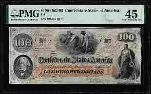 1862-63 $100 Confederate States of America Note T-41