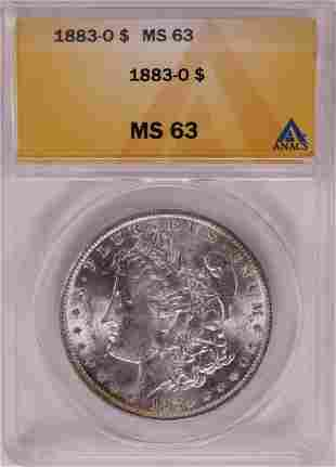 1883-O $1 Morgan Silver Dollar Coin ANACS MS63