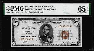 1929 $5 Federal Reserve Bank Note Kansas City Fr.1850-J