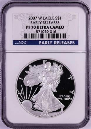 2007-W $1 American Silver Eagle Coin NGC PF70 Ultra