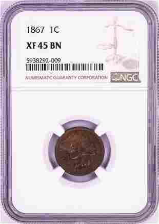 1867 Indian Head Cent Coin NGC XF45BN
