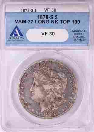 1878-S VAM-27 Long Neck $1 Morgan Silver Dollar Coin