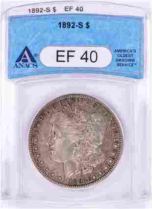 1892-S $1 Morgan Silver Dollar Coin ANACS XF40