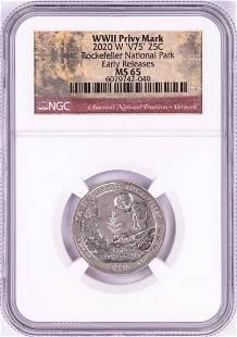 2020-W 'V75' Rockefeller National Park Quarter Coin NGC