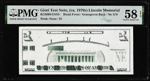 Circa 1970's Lincoln Memorial Giori Test Note PMG